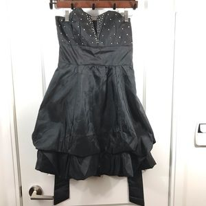 Strapless Black Sequin Short Cocktail Dress
